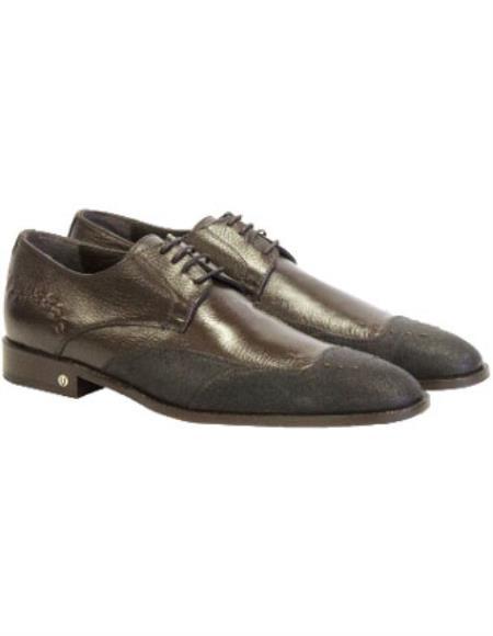 Men's Brown Vestigium Genuine Catshark Derby Shoes