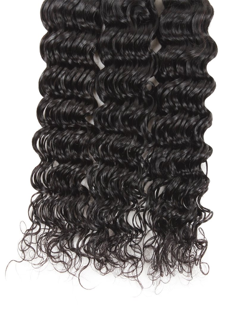 Ericdress Brazilian Virgin Human Hair Bundles Deep Wave Hair Extensions + Lace Closure