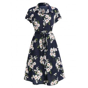 Floral Print Belted Shirt Dress