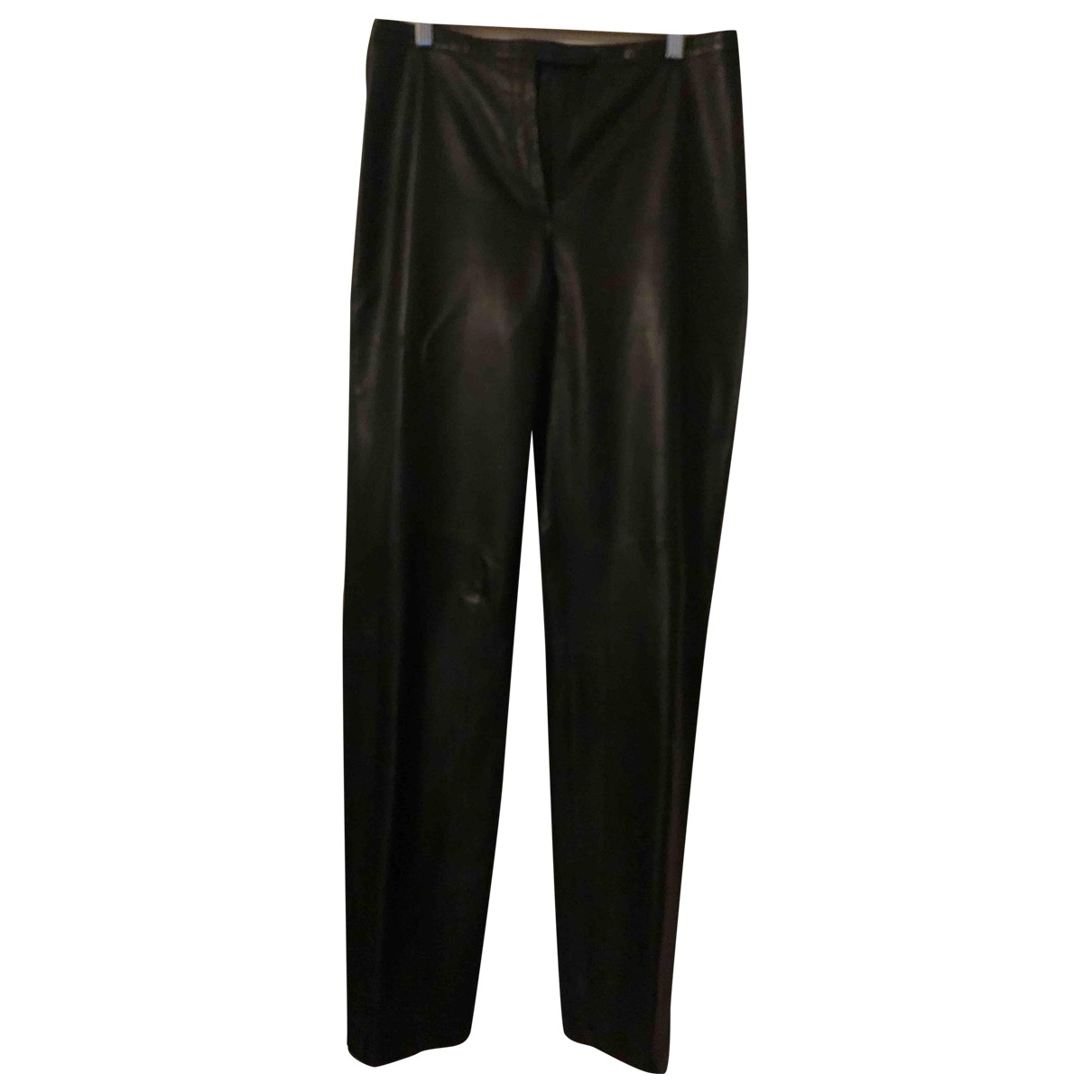 Faconnable \N Brown Leather Trousers for Women 40 FR