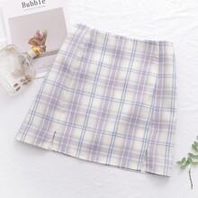 Tartan Plaid Split Hem Mini Skirt