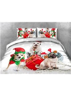 Christmas Dogs and Presents Printing 4-Piece 3D Bedding Sets/Duvet Covers