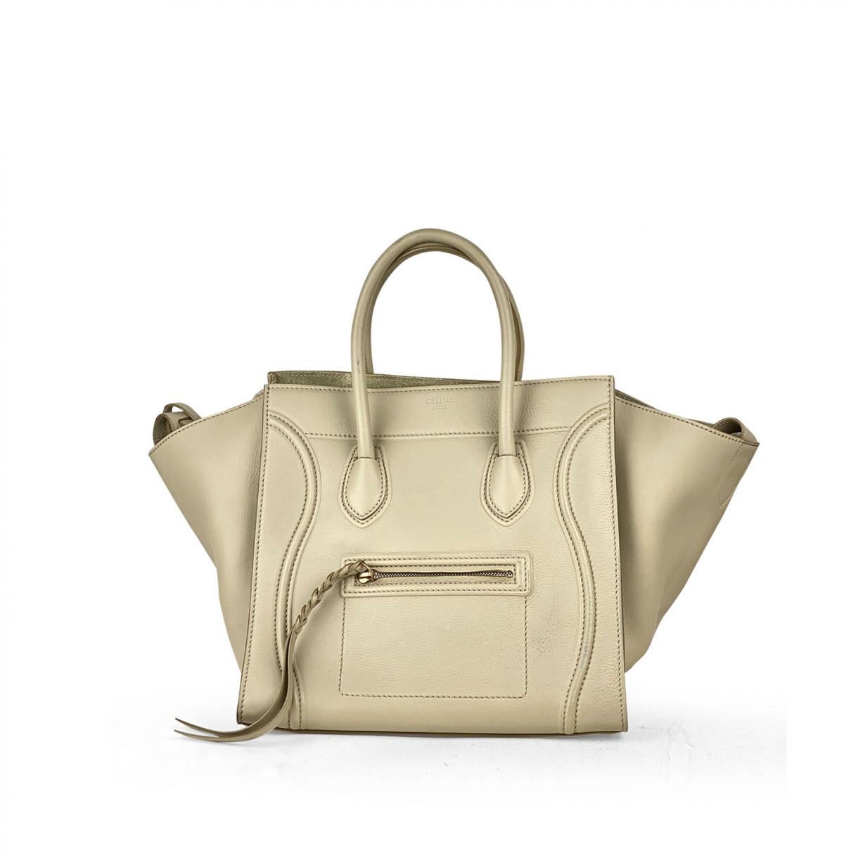 Celine Luggage Phantom Beige Leather handbag for Women \N