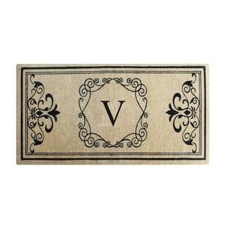 Hayley Monogrammed Entry Double Doormat (2' x 4'9) (monogrammed v)