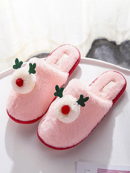 Milanoo Boa Slippers Grey Knitting Wool Upper Closed Toe Wearable Rubber Sole Outdoor Door Home Slippers Shoes
