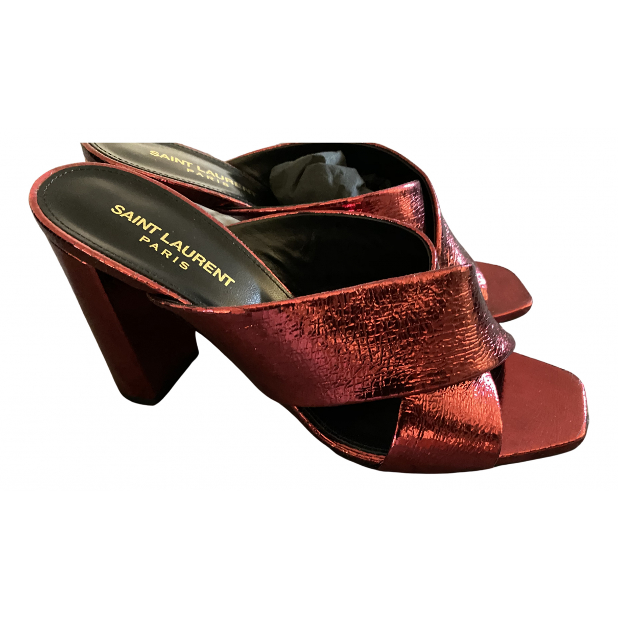 Saint Laurent Loulou Red Leather Sandals for Women 40 IT