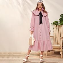 Ruffle Trim Collar Tie Neck Buttoned Smock Dress