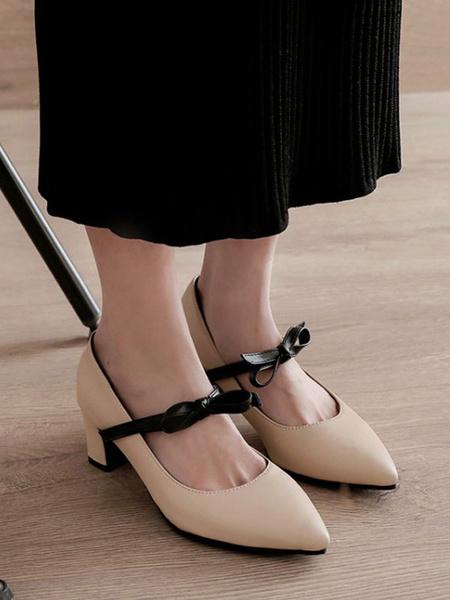 Milanoo Zapatos de tacon medio bajo para mujer Lazos blancos Puntera puntiaguda Casarse con tacones gruesos Jane Zapatos sin cordones