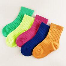 5pairs Toddler Kids Ribbed Socks