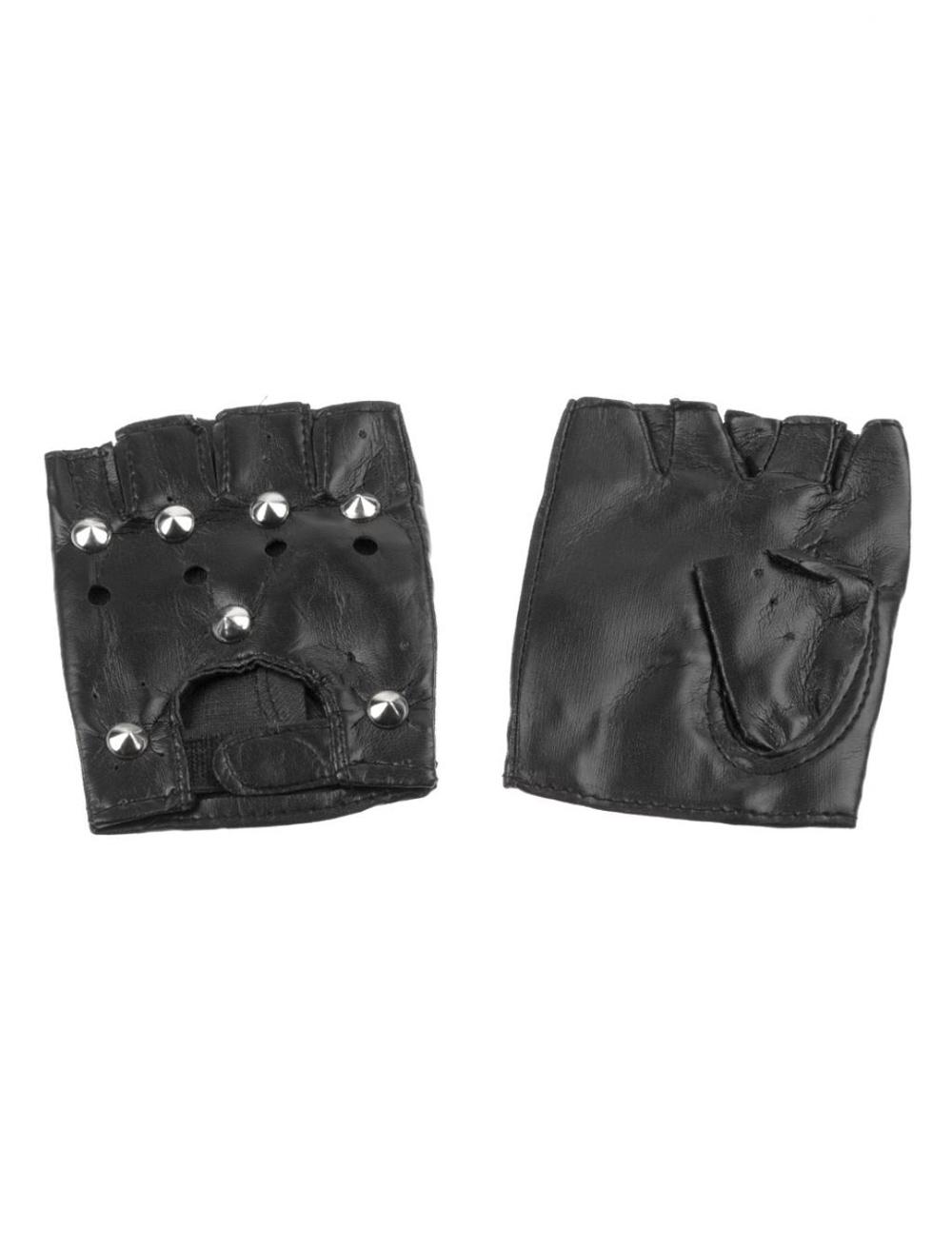 Kostuemzubehor Handschuhe fingerlos Punker mit Nieten Farbe: schwarz