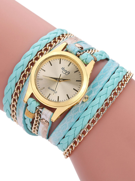 Milanoo Gold Fashion Watches Round Dial Metal Alloy Band Women's Quartz Analog Wrist Watch