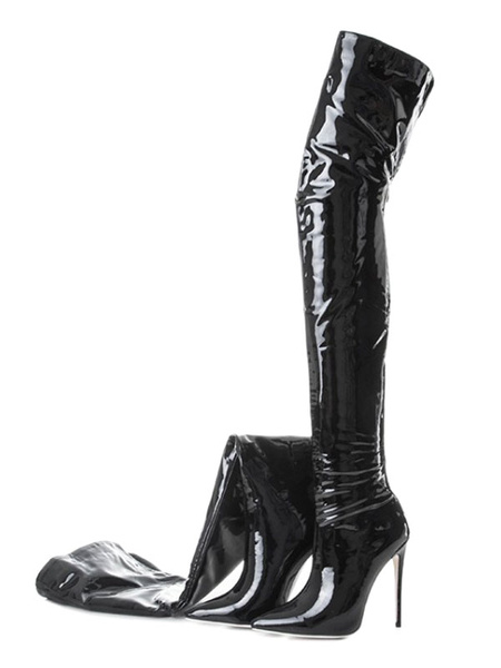 Milanoo Black Thigh High Boots Womens Patent Leather Pointed Toe Stiletto Heel Over The Knee Boots