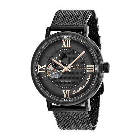 Christian Van Sant Mens Automatic Black Stainless Steel Bracelet Watch-Cv1144, One Size , No Color Family