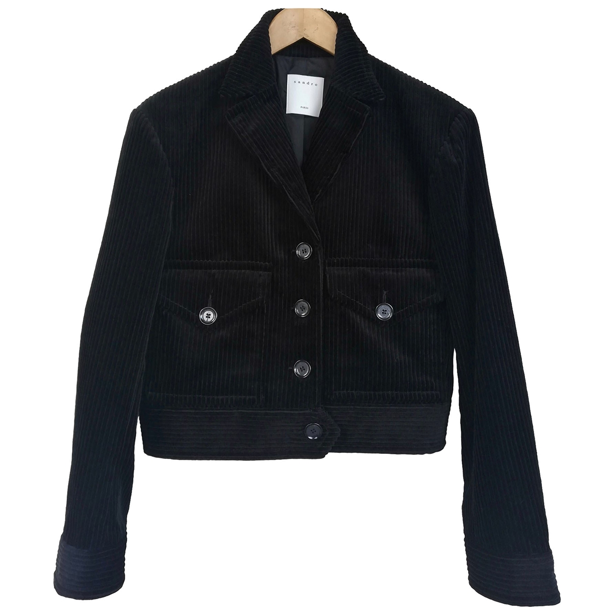 Sandro \N Black Cotton jacket for Women 36 FR