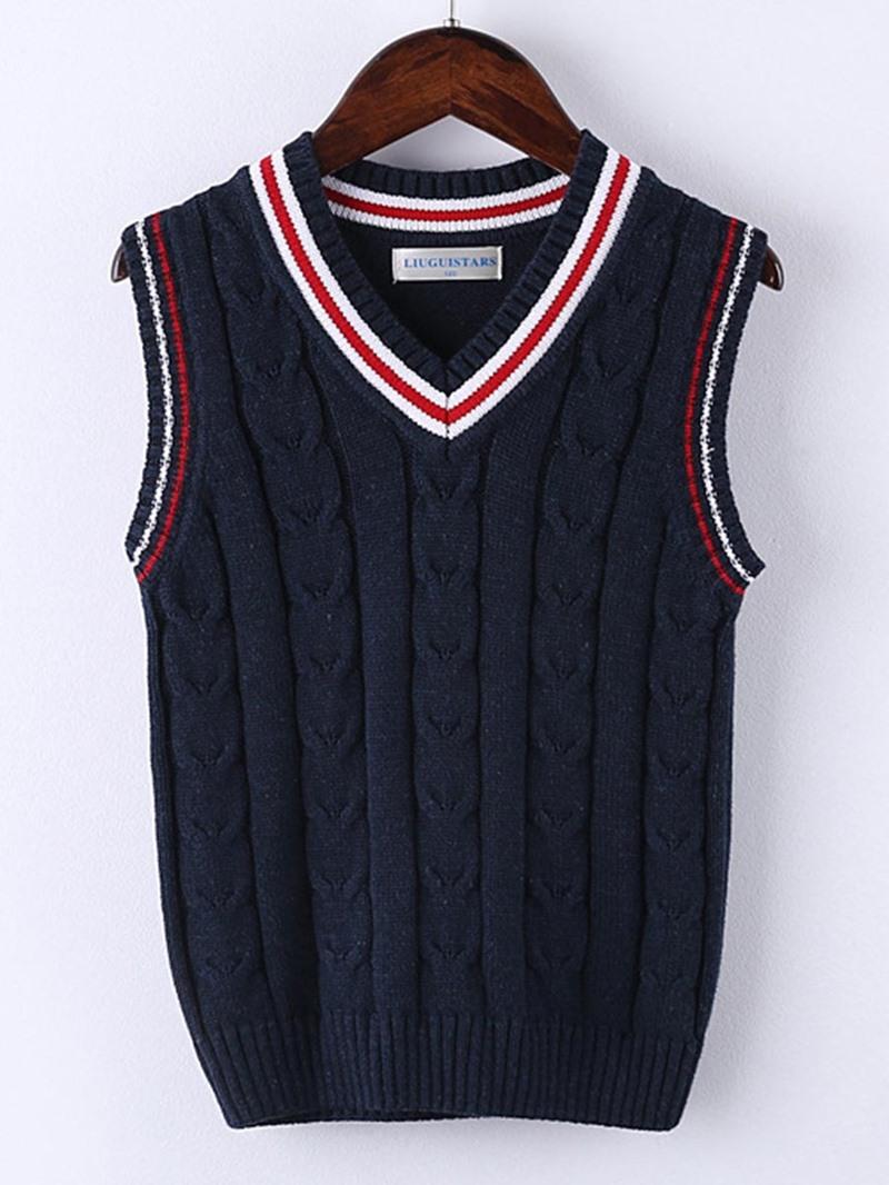 Ericdress V-Neck Stripe Sleeveless Vest Sweater