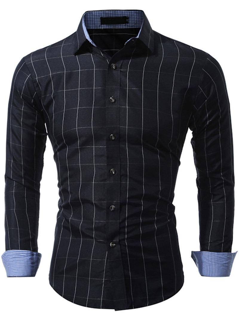 Ericdress Plain Long Sleeve Plaid Casual Men's Shirt