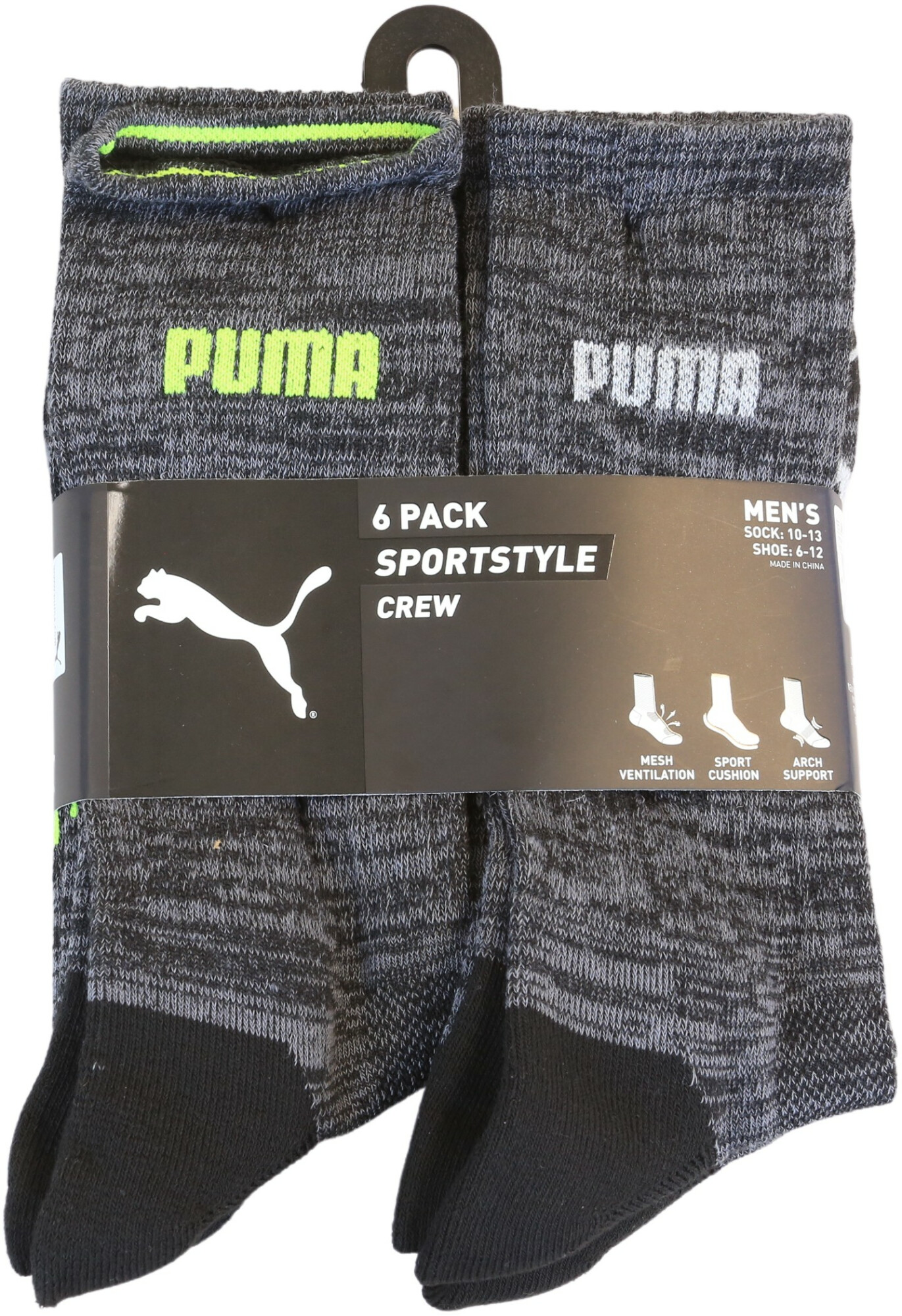 Puma Men's Black Sportstyle Crew 6 Pack Fishing Sock - 10-13