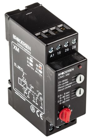 Brodersen Systems DPDT Multi Function Timer Relay - 0.6 → 60 min, 2 Contacts, DIN Rail