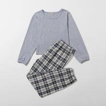 Girls Sweatshirt & Tartan Pants PJ Set