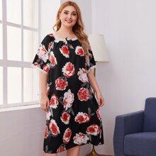 Plus Floral Print Contrast Lace Night Dress