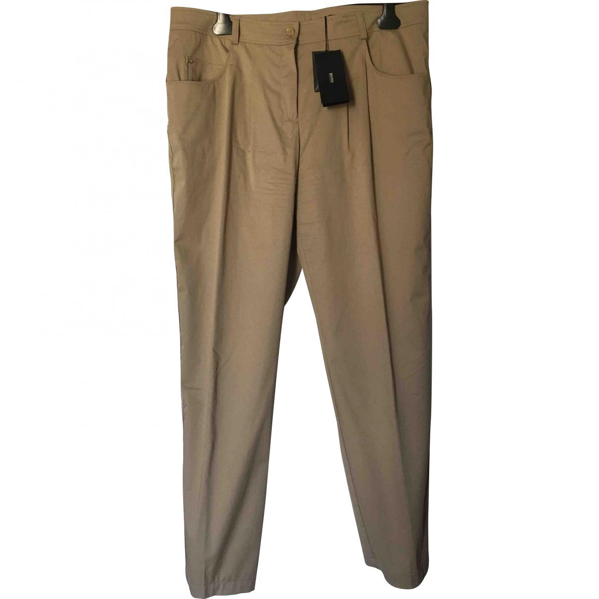 Boss \N Beige Cotton Trousers for Women 44 FR