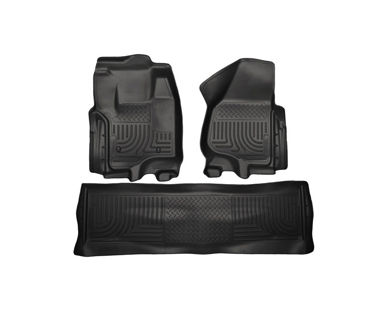 Husky Floor Liners Front & 2nd Row 12-15 F Series Super Duty Crew Cab (Footwell Coverage) WeatherBeater-Black