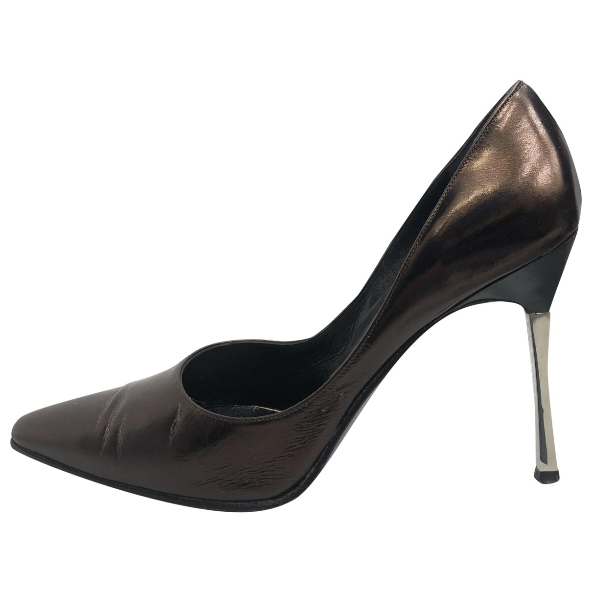 Gucci Sylvie Brown Leather Heels for Women 39.5 EU