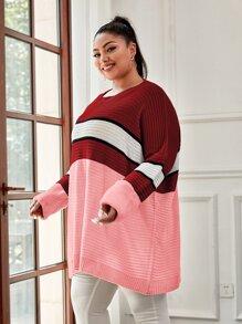 Plus Colorblock Drop Shoulder Oversized Sweater