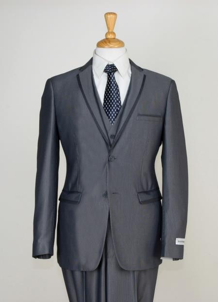 Mens 3 Piece Slim Cut Suit Contrast Trim and Adjustable Waist Gray