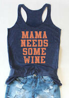Mama Needs Some Wine Tank - Navy Blue
