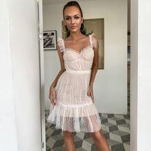 Kleid mit Punkten Muster, Netzstoff und Riemen