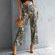 Hose mit Paisley Muster und breitem Beinschnitt