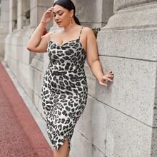 Vestidos Tallas Grandes Cruzado Leopardo Elegante
