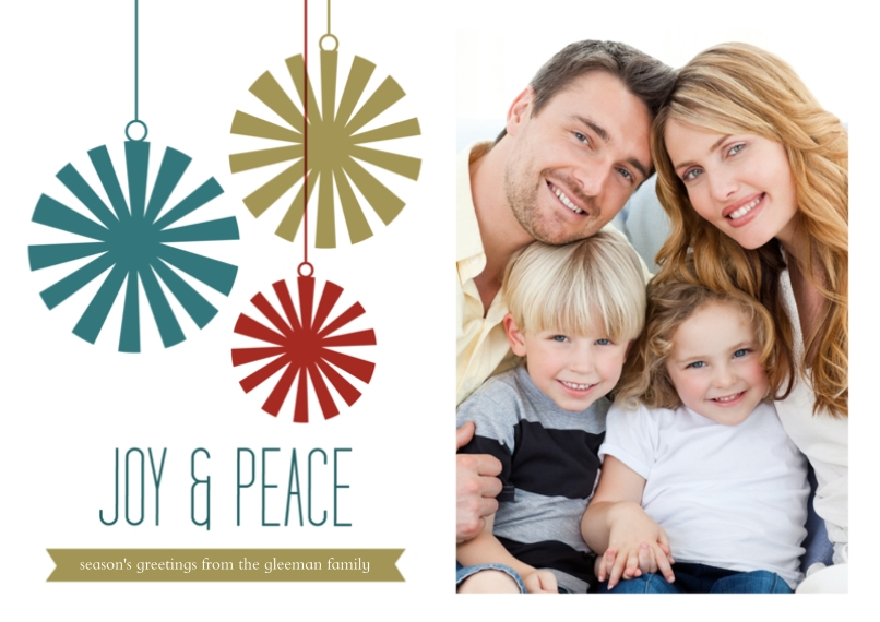 Holiday Photo Cards 5x7 Cards, Standard Cardstock 85lb, Card & Stationery -Joy & Peace Ornament