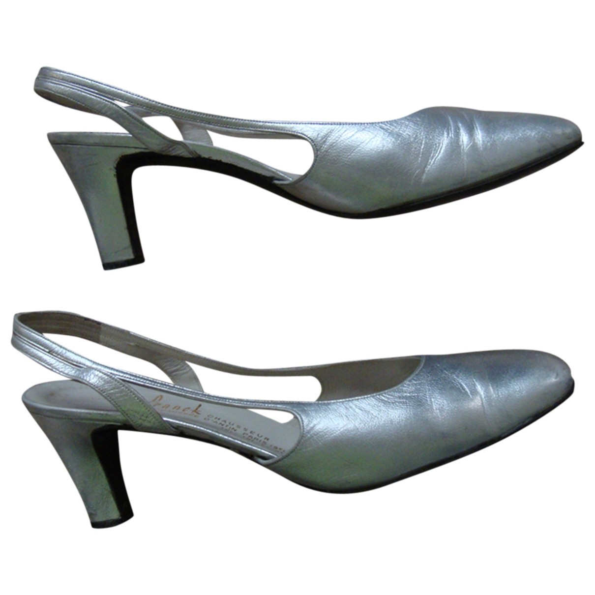 Non Signé / Unsigned \N Silver Leather Sandals for Women 39.5 EU