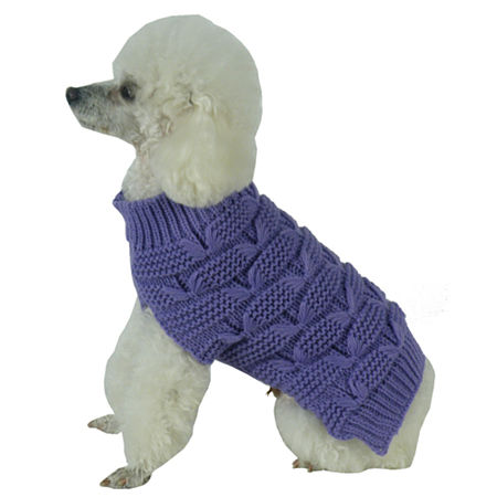 The Pet Life Butterfly Stitched Heavy Cable Knitted Fashion Turtle Neck Dog Sweater, One Size , Purple