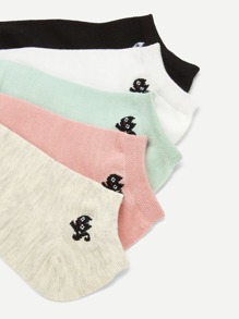Cat Pattern Detail Socks 5pairs