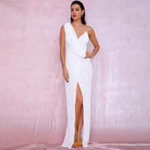 Kleid mit asymmetrischem Kragen, Wickel Design und Pailletten