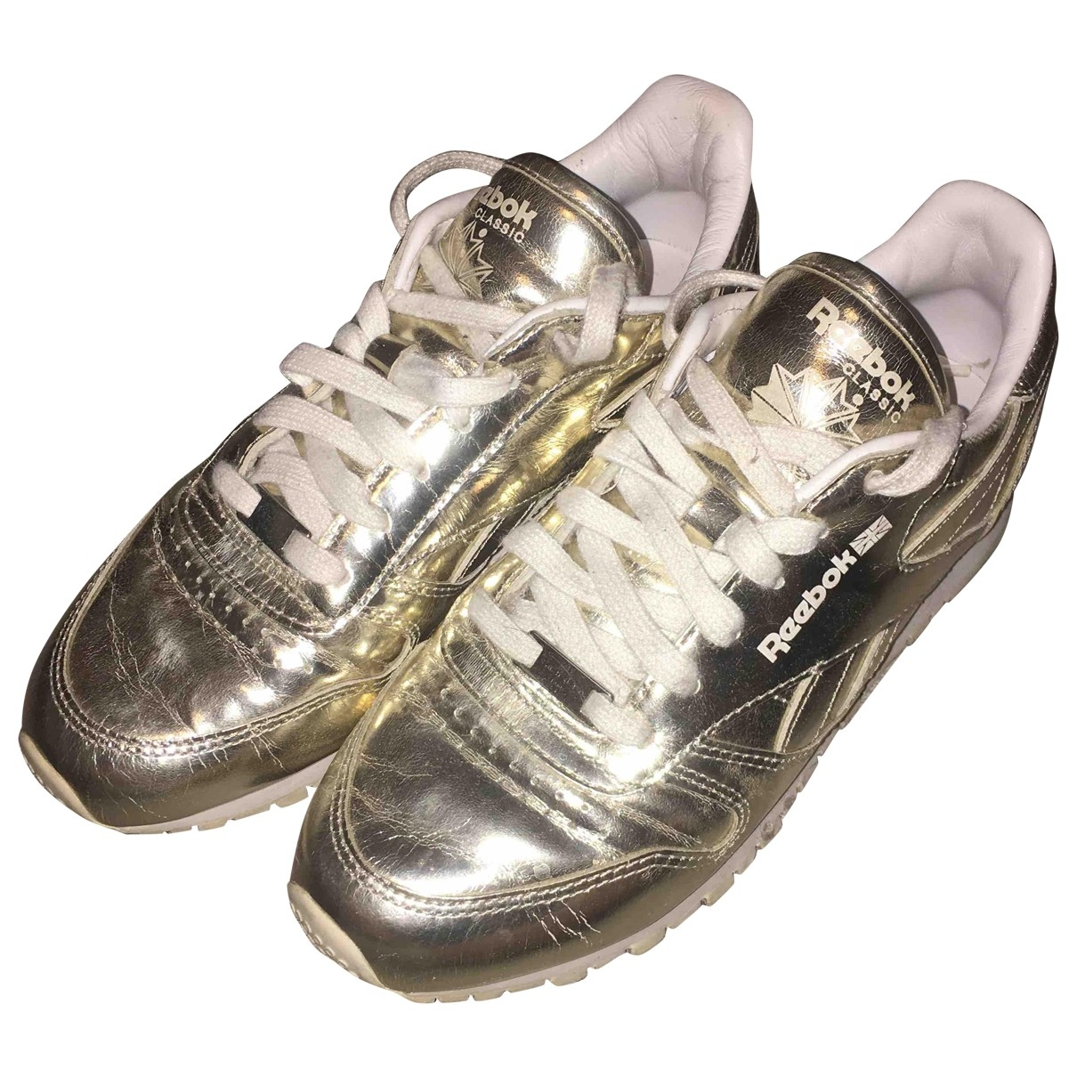Sandro \N Gold Leather Trainers for Women 35 EU