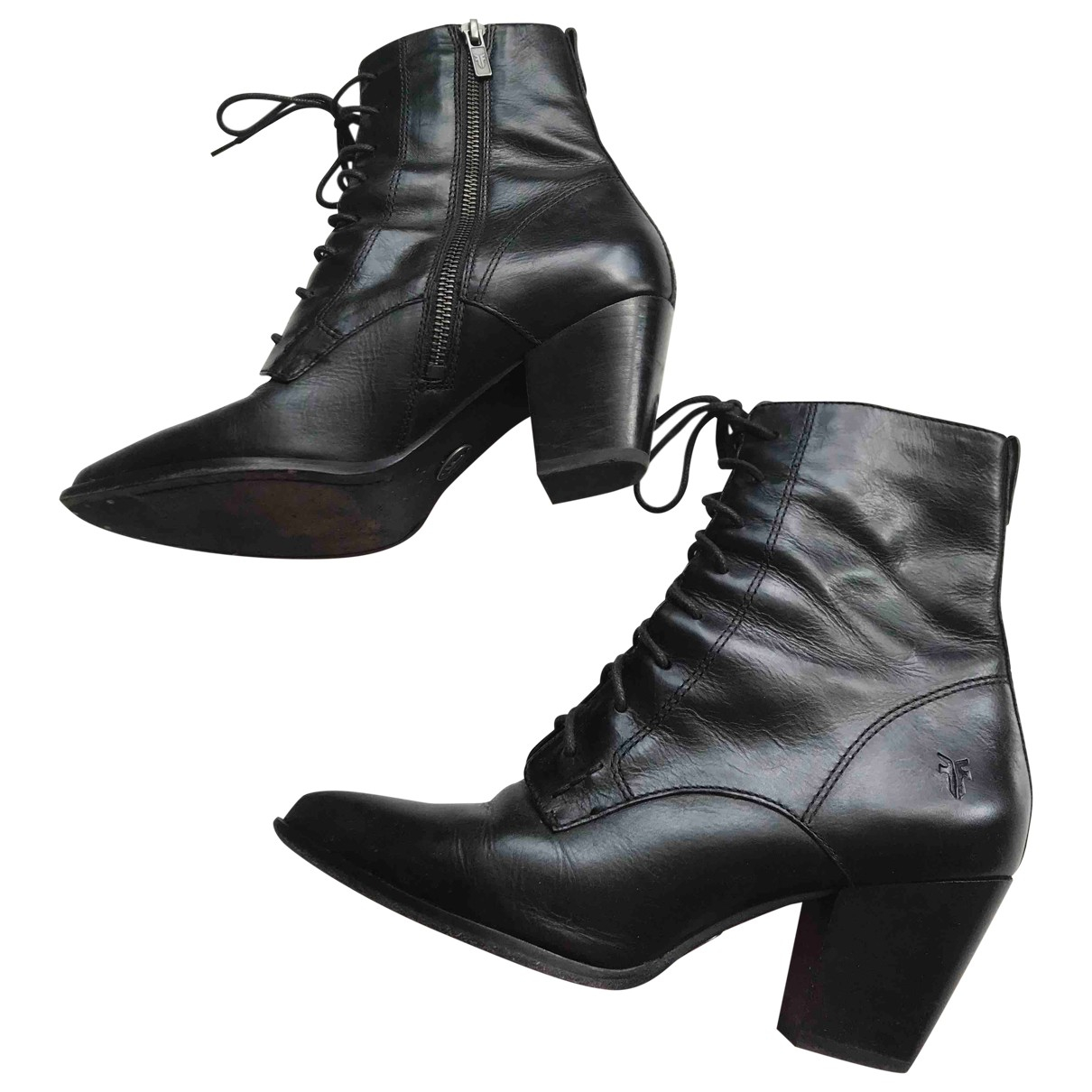 Frye \N Black Leather Ankle boots for Women 7.5 US