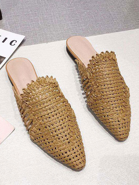 Milanoo Zapatos planos de playa de cuero de PU en punta de color caqui de mulas tejidas para mujer para el verano