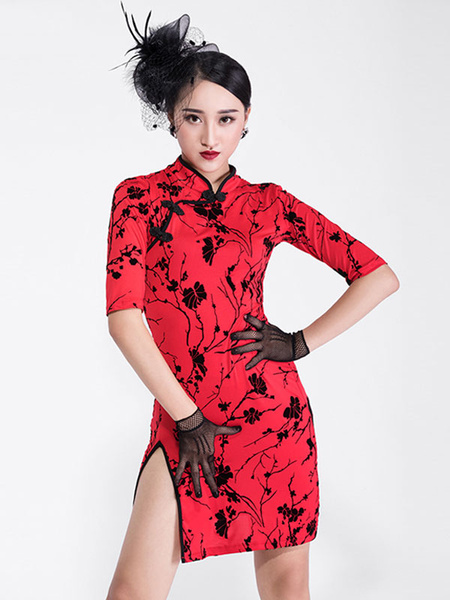 Milanoo Dance Costumes Latin Dancer Dresses Cheongsam Skirt Red Half Sleeve Split Floral Print Dancing Wears Outfit Halloween