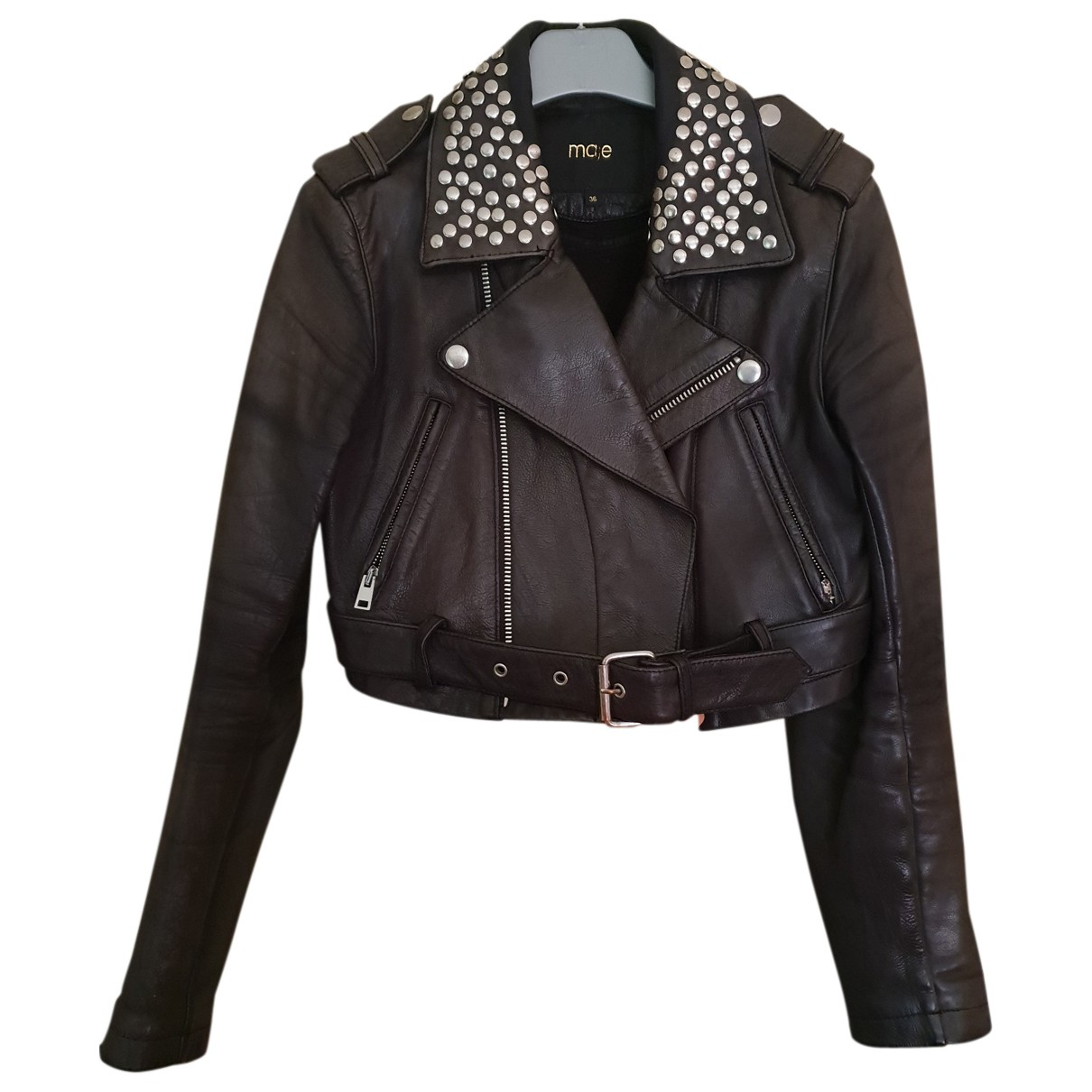 Maje N Black Leather jacket for Women S International