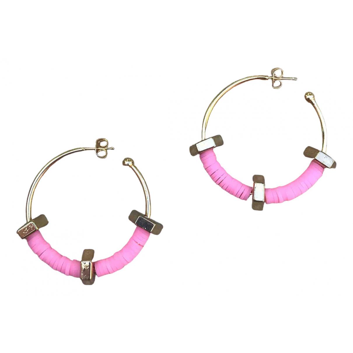 - Boucles doreilles Creoles pour femme en metal - rose