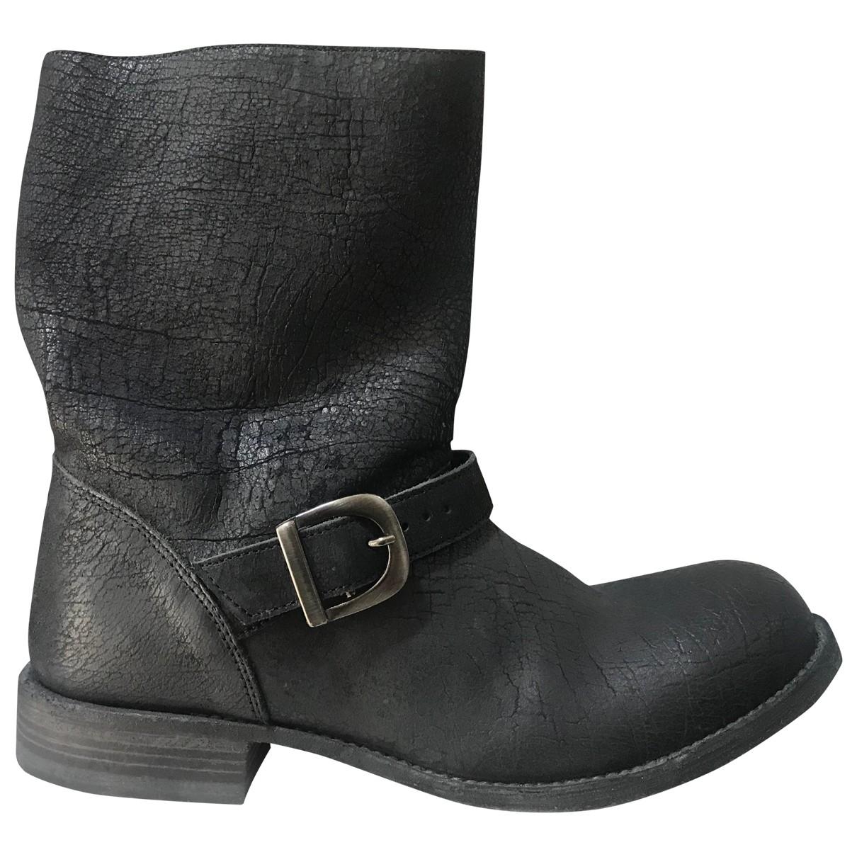 10sei0otto \N Anthracite Leather Boots for Men 39 EU