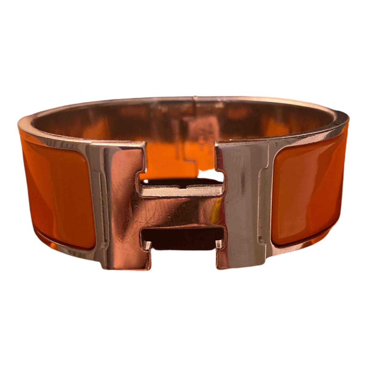 Hermes - Bracelet Clic H pour femme en plaque argent - orange