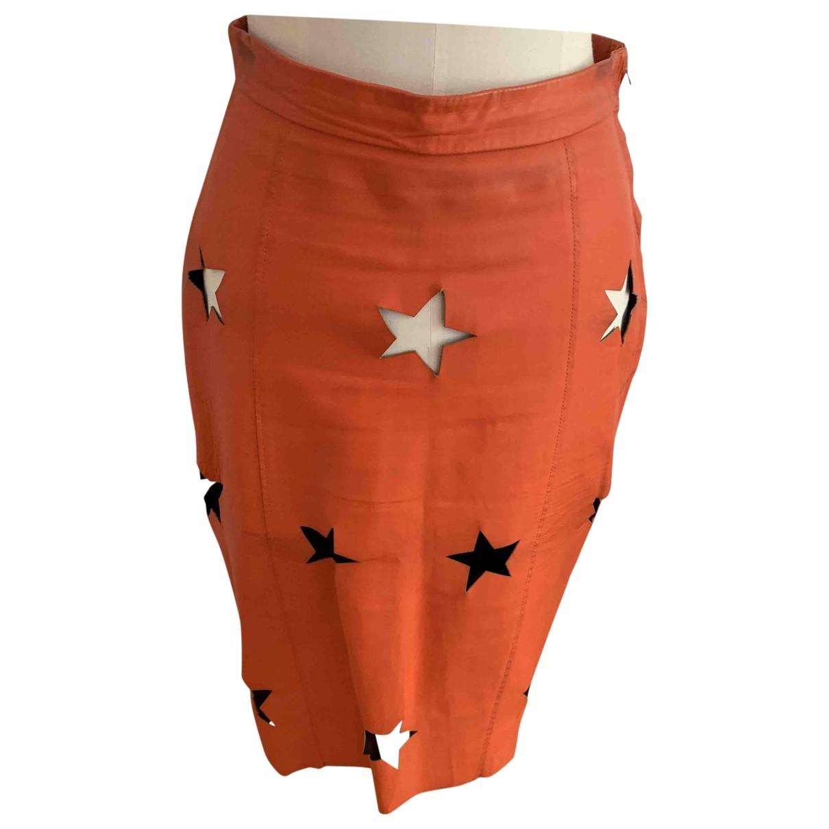 Acne Studios \N Orange Leather skirt for Women 36 FR