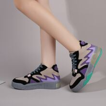 Color Block Lace-up Front Sneakers