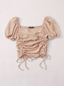 Shirred Back Drawstring Ruched Crop Top