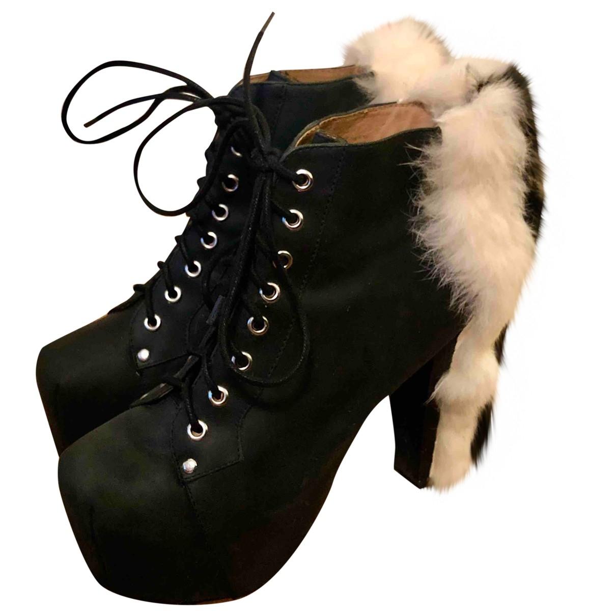 Jeffrey Campbell - Boots   pour femme en fourrure synthetique - noir